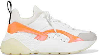 Stella McCartney Eclypse Neoprene, Faux Leather And Suede Exaggerated-sole Sneakers