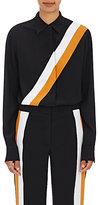 Stella McCartney Women's Diagonal-Striped Silk Blouse-BLACK