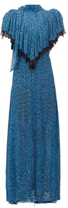 Preen by Thornton Bregazzi Epaine Abstract-print Plisse-chiffon Maxi Dress - Womens - Blue
