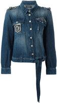 Twin-Set embroidered denim jacket - women - Cotton/Linen/Flax - 42