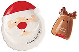 Mud Pie Holiday The Night Before Christmas Cookies for Santa Plate & Reindeer Treats Bowl Set