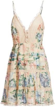 Zimmermann Verity Sleeveless Scalloped Floral Mini Dress