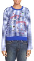 Opening Ceremony Embroidered Map Gingham Sweater