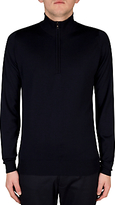 John Smedley Barrow Half Zip Jumper, Midnight