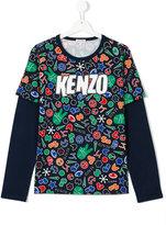 Kenzo symbol logo long-sleeved T-shirt - kids - Cotton - 14 yrs
