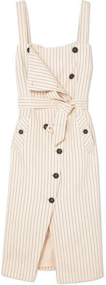 Altuzarra Audrey Button-detailed Ottoman Midi Dress - Beige