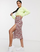 Motel midi bias skirt with thigh split in floral print