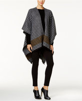 MICHAEL Michael Kors Border Stripe Houndstooth Poncho