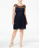 Xscape Evenings Plus Size Embellished Draped Illusion Dress