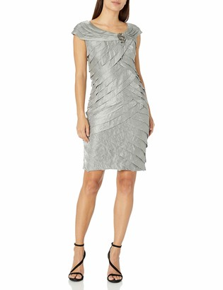 London Times Women's Petite Sheath Dress w. Broach Detail & Portrait Collar