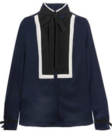 Karl Lagerfeld Pussy-bow Silk Blouse - Navy