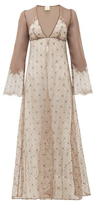 Myla Rosemoor Street Chiffon And Lace Nightgown - Dark Brown