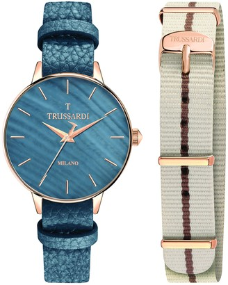 Trussardi Women's T-Evolution Stainless Steel Analog-Quartz Leather Strap