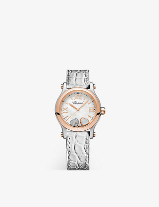 Chopard 278590-6005 Happy Sport 18ct rose-gold, stainless steel, mother-of-pearl, diamond and alligator-embossed leather watch