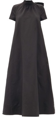 STAUD Llana Tie-neck Cotton-blend Maxi Dress - Black
