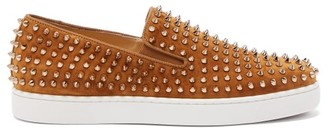 Christian Louboutin Roller-boat Spike-embellished Suede Trainers - Yellow Gold
