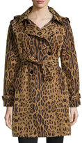 Jane Post Leopard-Print Trench Raincoat