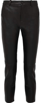Nili Lotan Montauk Cropped Lizard-effect Leather Slim-leg Pants - Black