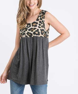 Cool Melon Women's Tank Tops Mocha - Mocha & Charcoal Leopard Color Block Sleeveless Tunic - Women & Plus