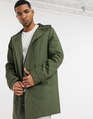 ASOS DESIGN hooded trench coat with shower resistance in green