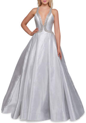 Mac Duggal Embellished Plunging-Neck A-Line Ball Gown