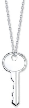 "Unwritten Crystal Key Pendant Necklace in Sterling Silver, 16"" + 2"" extender"