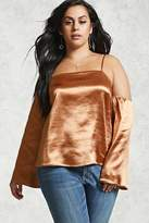 Forever 21 Plus Size Open-Shoulder Satin Top