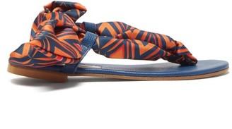 Avec Modération Avec Moderation - Curacao Diamond-print Silk-twill Sandals - Womens - Orange Navy