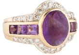 Ring Amethyst Cabochon & Diamond Halo