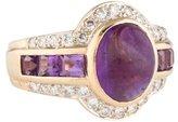 Ring Amethyst Cabochon & Diamond Halo
