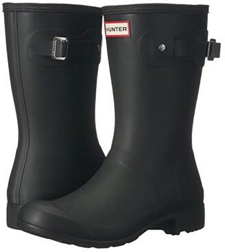Hunter Tour Short Packable Rain Boots (Black) Women's Shoes