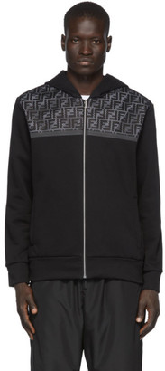 Fendi Black Mesh Forever Zip-Up Hoodie