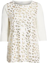 Thumbnail for your product : Joan Vass, Plus Size Sequin Leopard Print Tunic