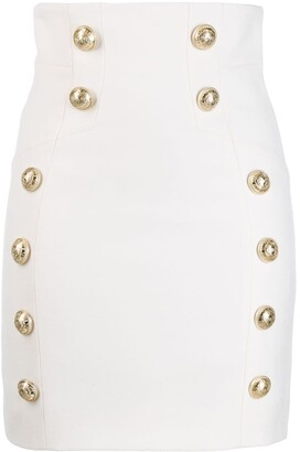 Balmain Button Detailed Fitted Skirt