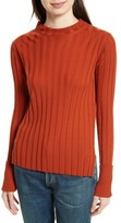Theory Women's Wide Ribbed Mock Neck Wool Sweater