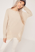 Missguided Distressed Off Shoulder Sweater Cream