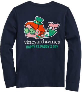 Vineyard Vines Girls' St. Paddy's Day Whale Long-Sleeve Pocket Tee