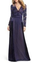 Tadashi Shoji Women's Mixed Media A-Line Gown