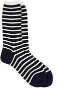 Antipast Women's Striped Long Trouser Socks-BLUE
