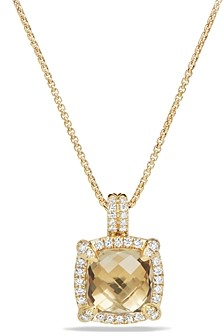 David Yurman Chatelaine Pave Bezel Pendant Necklace with Champagne Citrine and Diamonds in 18K Gold