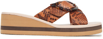 Ancient Greek Sandals Thais Buckled Snake-effect Leather Wedge Sandals