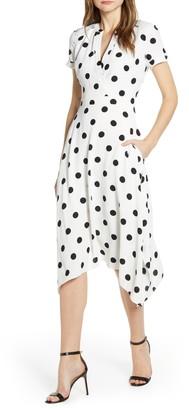 Karl Lagerfeld Paris Polka Dot Faux Wrap Front Dress
