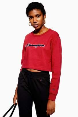 Champion Womens Cropped Script Logo Sweatshirt - Red