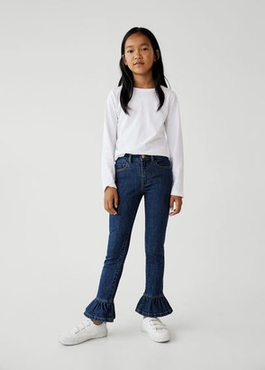 MANGO Frilled cotton jeans