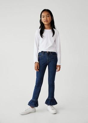 MANGO Frilled cotton jeans dark blue - 5 - Kids