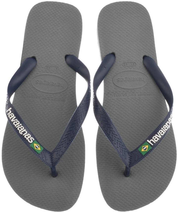 Havaianas Brazil Logo Flip Flops Grey