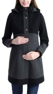 Kimi + Kai Tessa Maternity Wool Blend Colorblock Coat