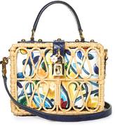 Dolce & Gabbana Dolce Box Majolica-print snakeskin and wicker bag