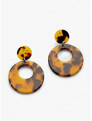 John Lewis & Partners Resin Circle Drop Earrings, Tortoise