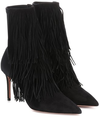 Aquazzura Shake Stretch 85 suede ankle boots